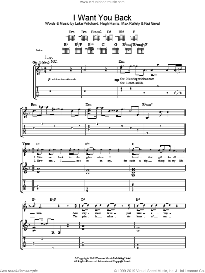I Want You Back sheet music for guitar (tablature) by The Kooks, Hugh Harris, Luke Pritchard, Max Rafferty and Paul Garred, intermediate skill level