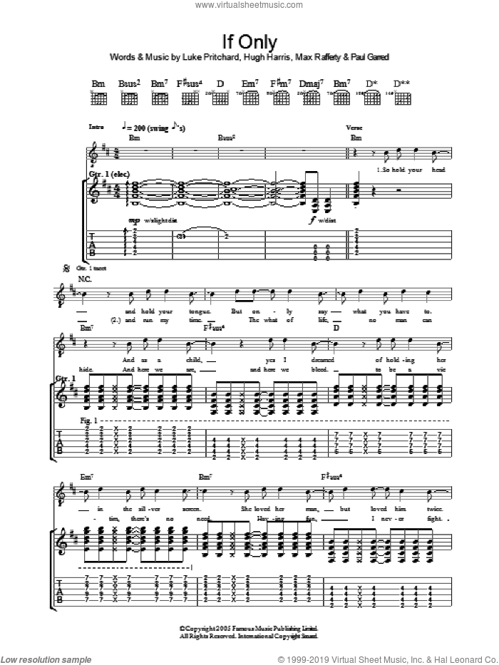 If Only sheet music for guitar (tablature) by Paul Garred