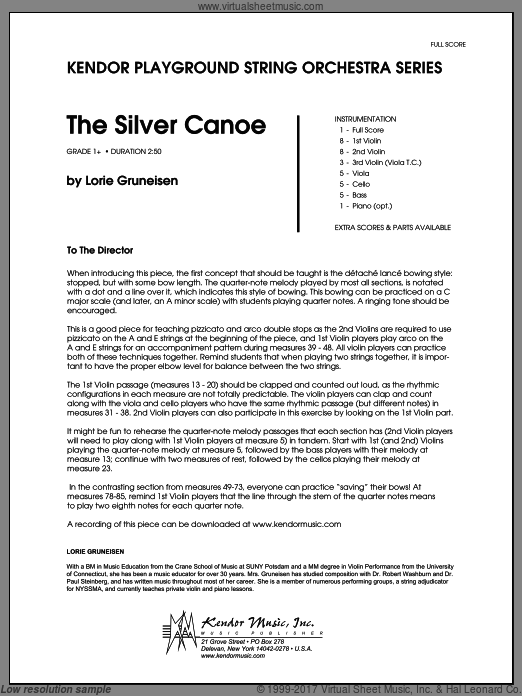 Silver Canoe, The (COMPLETE) sheet music for orchestra by Lorie Gruneisen