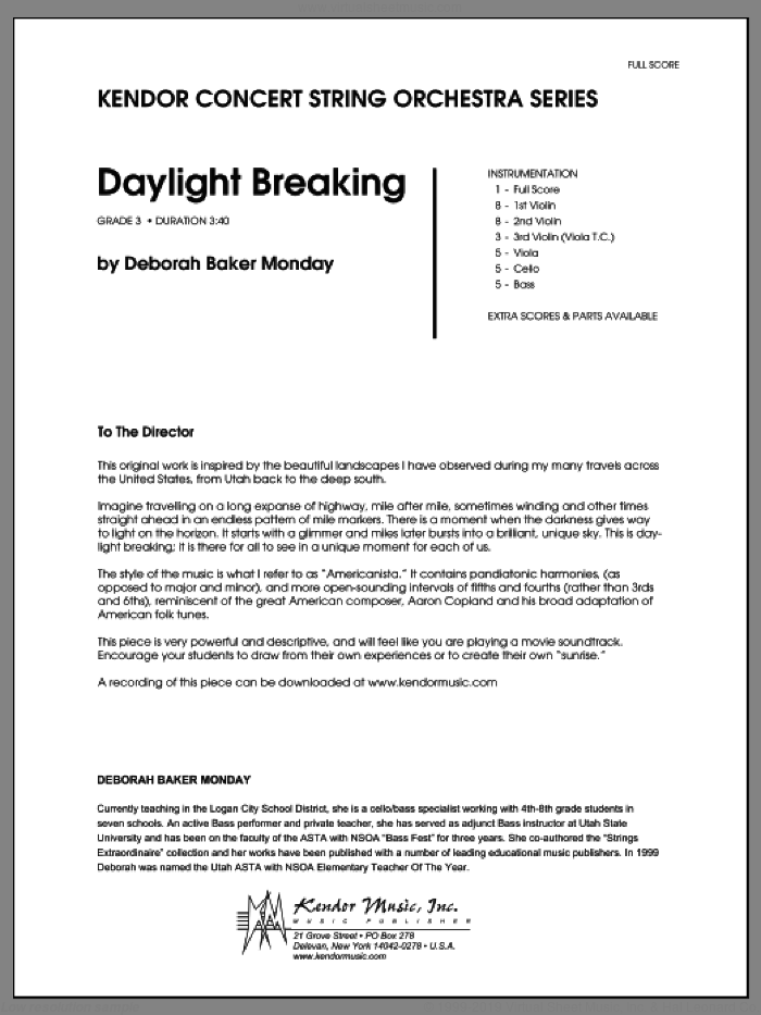 Daylight Breaking (COMPLETE) sheet music for orchestra by Deborah Baker Monday, classical score, intermediate skill level