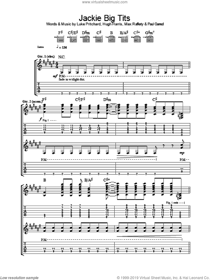 Jackie Big Tits sheet music for guitar (tablature) by The Kooks. Score Image Preview.