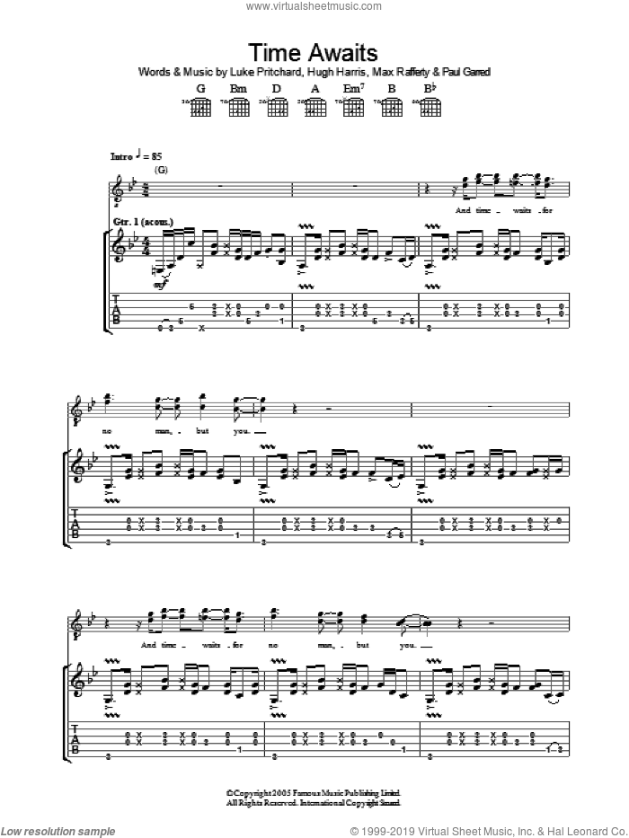 Time Awaits sheet music for guitar (tablature) by Paul Garred, The Kooks, Hugh Harris and Luke Pritchard. Score Image Preview.