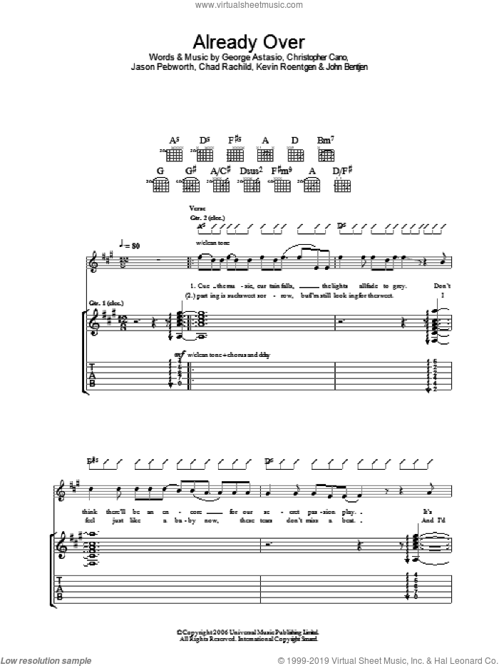 Already Over sheet music for guitar (tablature) by Orson, intermediate. Score Image Preview.