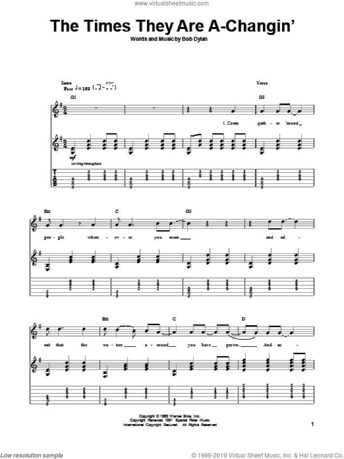 The Times They Are A-Changin' sheet music for guitar (tablature, play-along) by Bob Dylan and Peter, Paul & Mary. Score Image Preview.