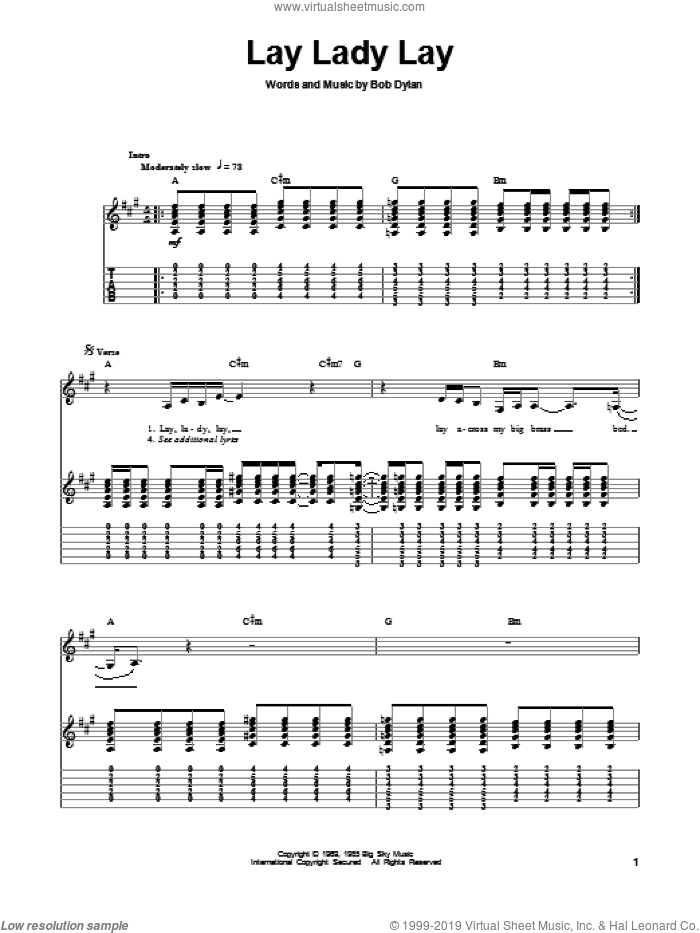 Lay Lady Lay sheet music for guitar (tablature, play-along) by Bob Dylan, intermediate guitar (tablature, play-along). Score Image Preview.