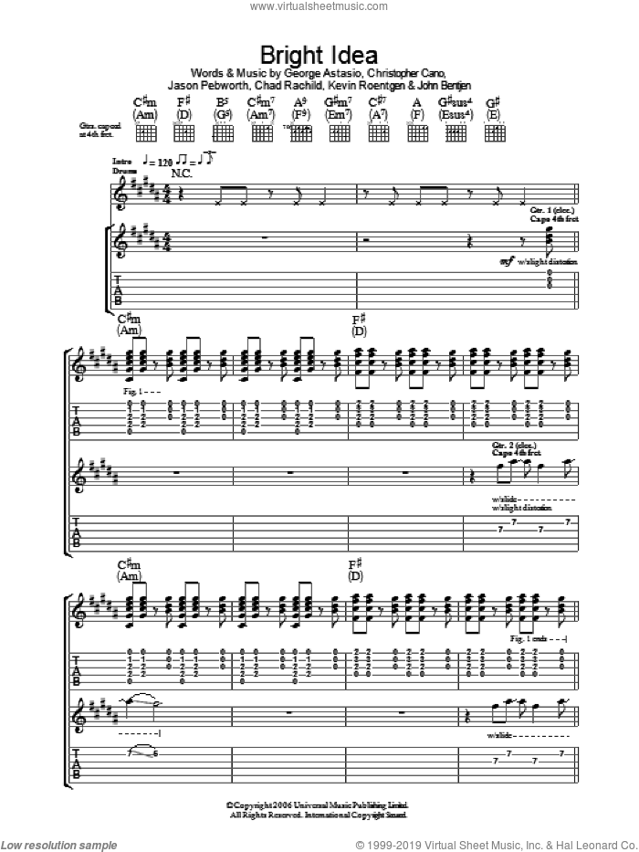 Bright Idea sheet music for guitar (tablature) by Kevin Roentgen