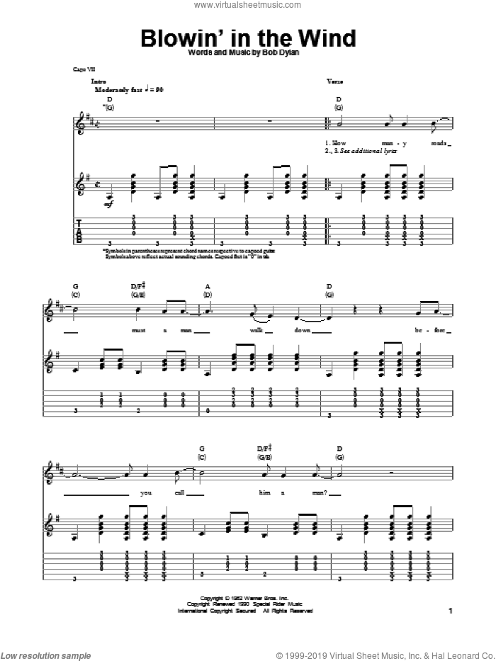 Blowin' In The Wind sheet music for guitar (tablature, play-along) by Bob Dylan, Peter, Paul & Mary and Stevie Wonder. Score Image Preview.
