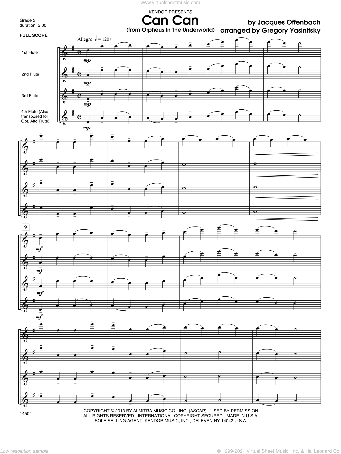 Can Can (from Orpheus In The Underworld) sheet music for flute quintet (full score) by Offenbach