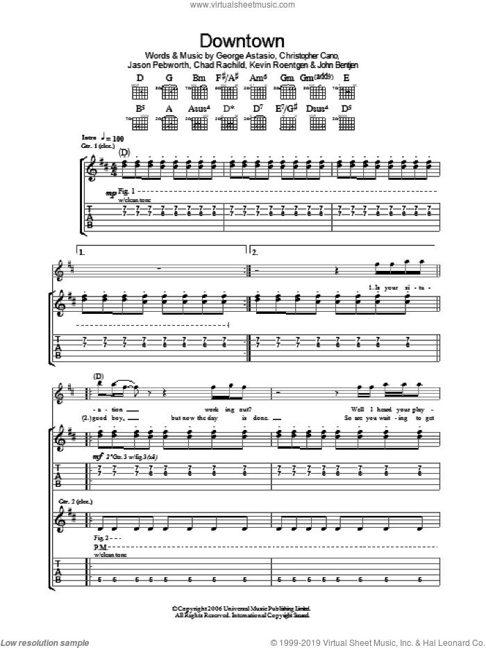 Downtown sheet music for guitar (tablature) by Kevin Roentgen