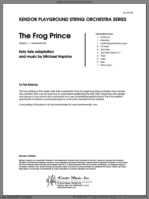 Frog Prince, The (COMPLETE) sheet music for orchestra by Michael Hopkins
