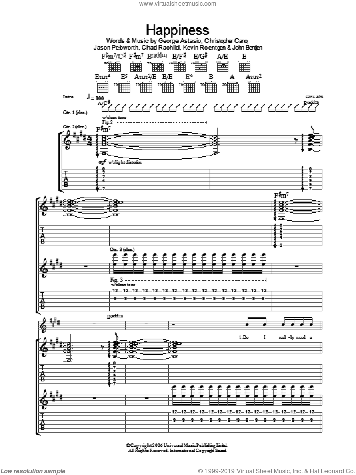 Happiness sheet music for guitar (tablature) by Kevin Roentgen and Chad Rachild