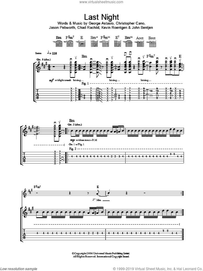 Last Night sheet music for guitar (tablature) by Kevin Roentgen