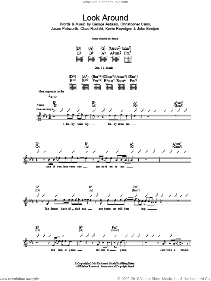 Look Around sheet music for guitar (tablature) by Orson, intermediate guitar (tablature). Score Image Preview.