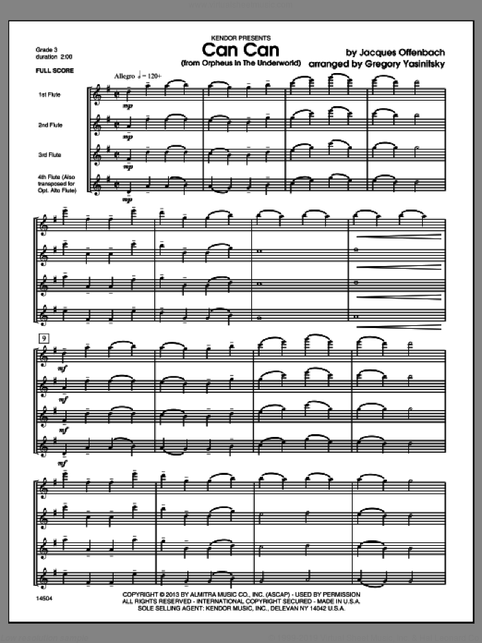 Can Can (from Orpheus In The Underworld) (COMPLETE) sheet music for flute quartet by Offenbach and Gregory Yasinitsky, classical score, intermediate skill level