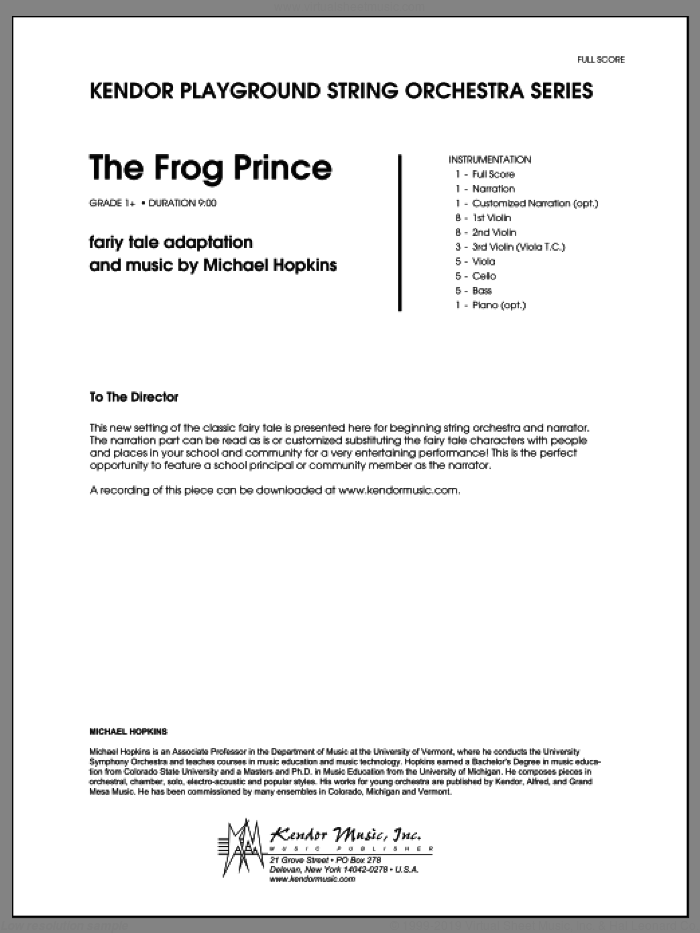 Frog Prince, The (COMPLETE) sheet music for orchestra by Michael Hopkins, classical score, intermediate orchestra. Score Image Preview.