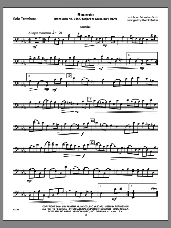 Kendor Master Repertoire - Trombone (complete set of parts) sheet music for trombone and piano by Gerald Felker, classical score, intermediate trombone. Score Image Preview.