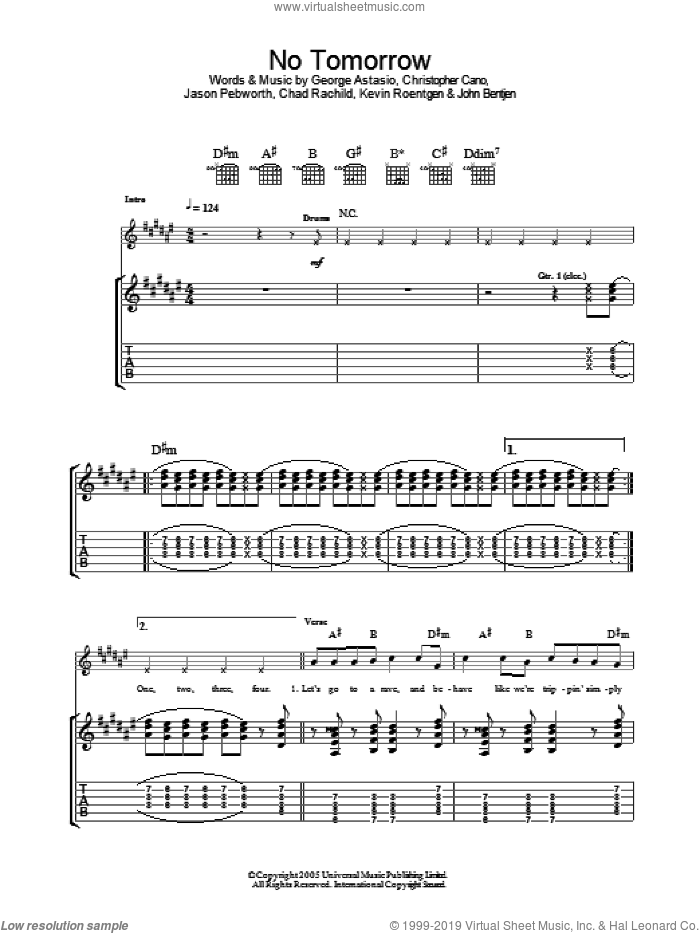 No Tomorrow sheet music for guitar (tablature) by Orson, Chad Rachild, Christopher Cano, George Astasio, Jason Pebworth, John Bentjen and Kevin Roentgen, intermediate skill level