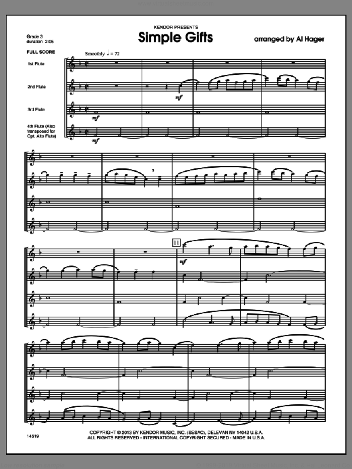 Simple Gifts (COMPLETE) sheet music for flute quartet by Al Hager, classical score, intermediate skill level