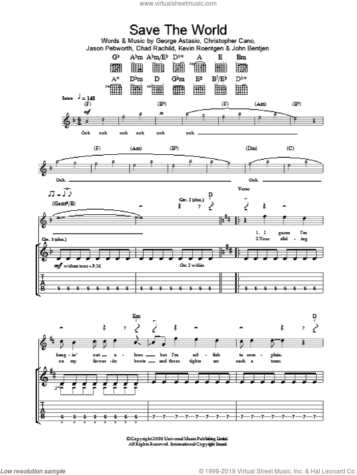 Save The World sheet music for guitar (tablature) by Kevin Roentgen