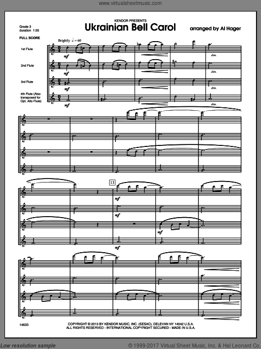 Ukrainian Bell Carol (COMPLETE) sheet music for flute quartet by Al Hager