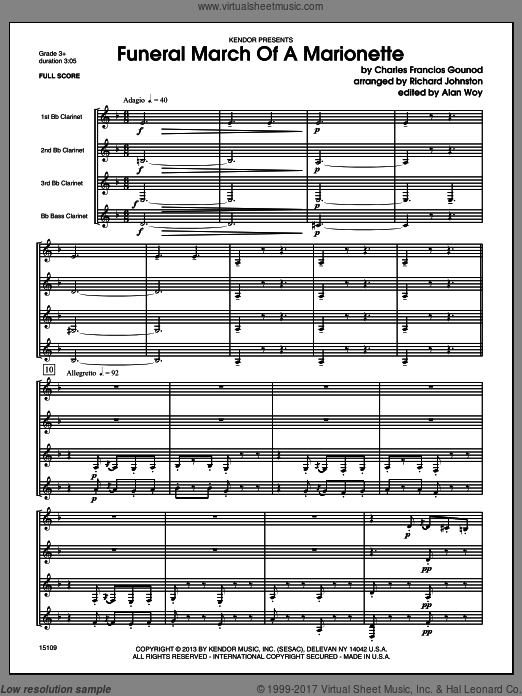 Funeral March Of A Marionette (COMPLETE) sheet music for clarinet quartet by Charles Gounod