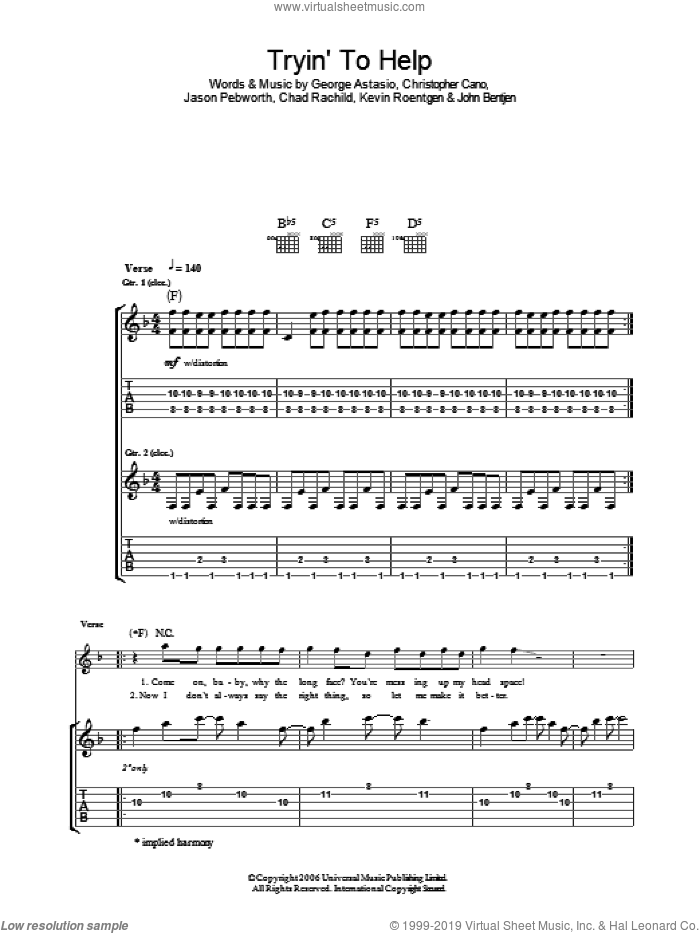Tryin' To Help sheet music for guitar (tablature) by Kevin Roentgen