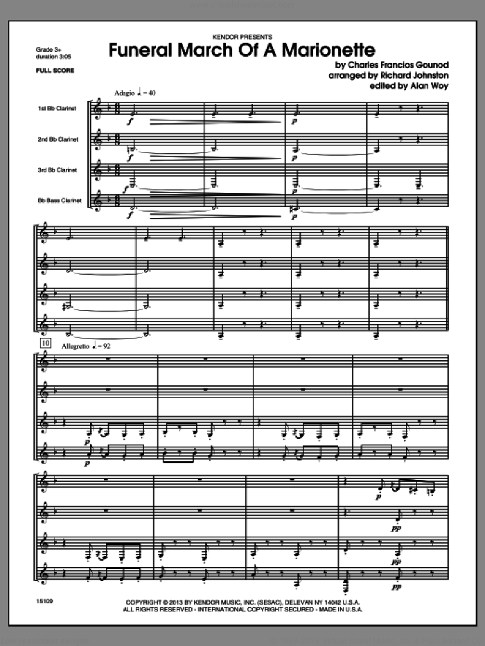 Funeral March Of A Marionette (COMPLETE) sheet music for clarinet quartet by Charles Gounod and Richard Johnston, classical score, intermediate skill level
