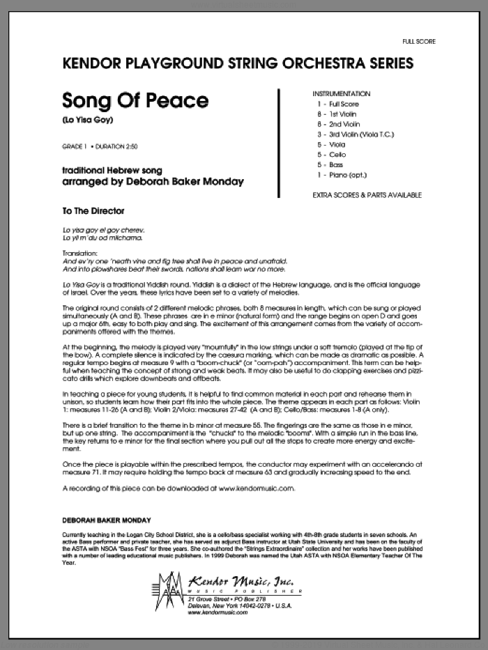 Song Of Peace (Lo Yisa Goy) (COMPLETE) sheet music for orchestra by Deborah Baker Monday, classical score, intermediate. Score Image Preview.
