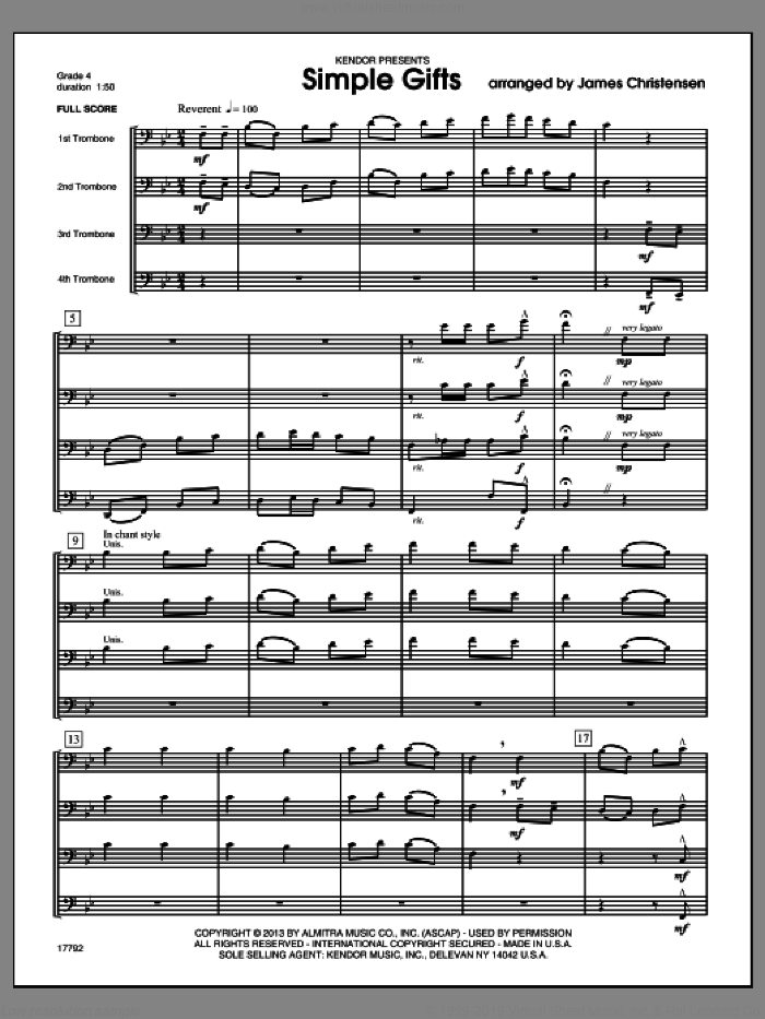 Simple Gifts (COMPLETE) sheet music for four trombones by James Christensen, classical score, intermediate skill level