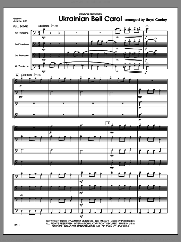 Ukrainian Bell Carol (COMPLETE) sheet music for four trombones by Lloyd Conley, classical score, intermediate skill level