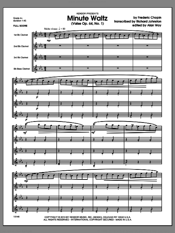 Minute Waltz (Valse Op. 64, No. 1) (COMPLETE) sheet music for clarinet quartet by Frederic Chopin and Richard Johnston, classical score, intermediate. Score Image Preview.