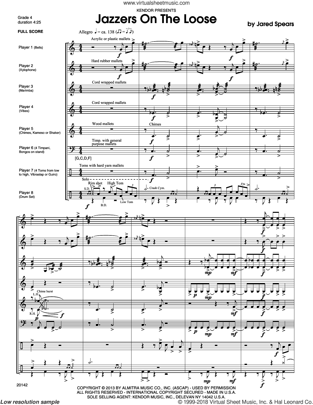 Jazzers On The Loose sheet music for percussions (full score) by Jared Spears