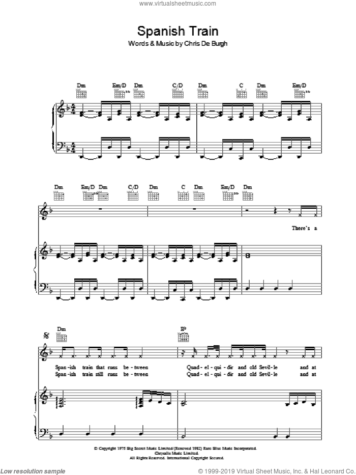 Spanish Train sheet music for voice, piano or guitar by Chris de Burgh, intermediate voice, piano or guitar. Score Image Preview.
