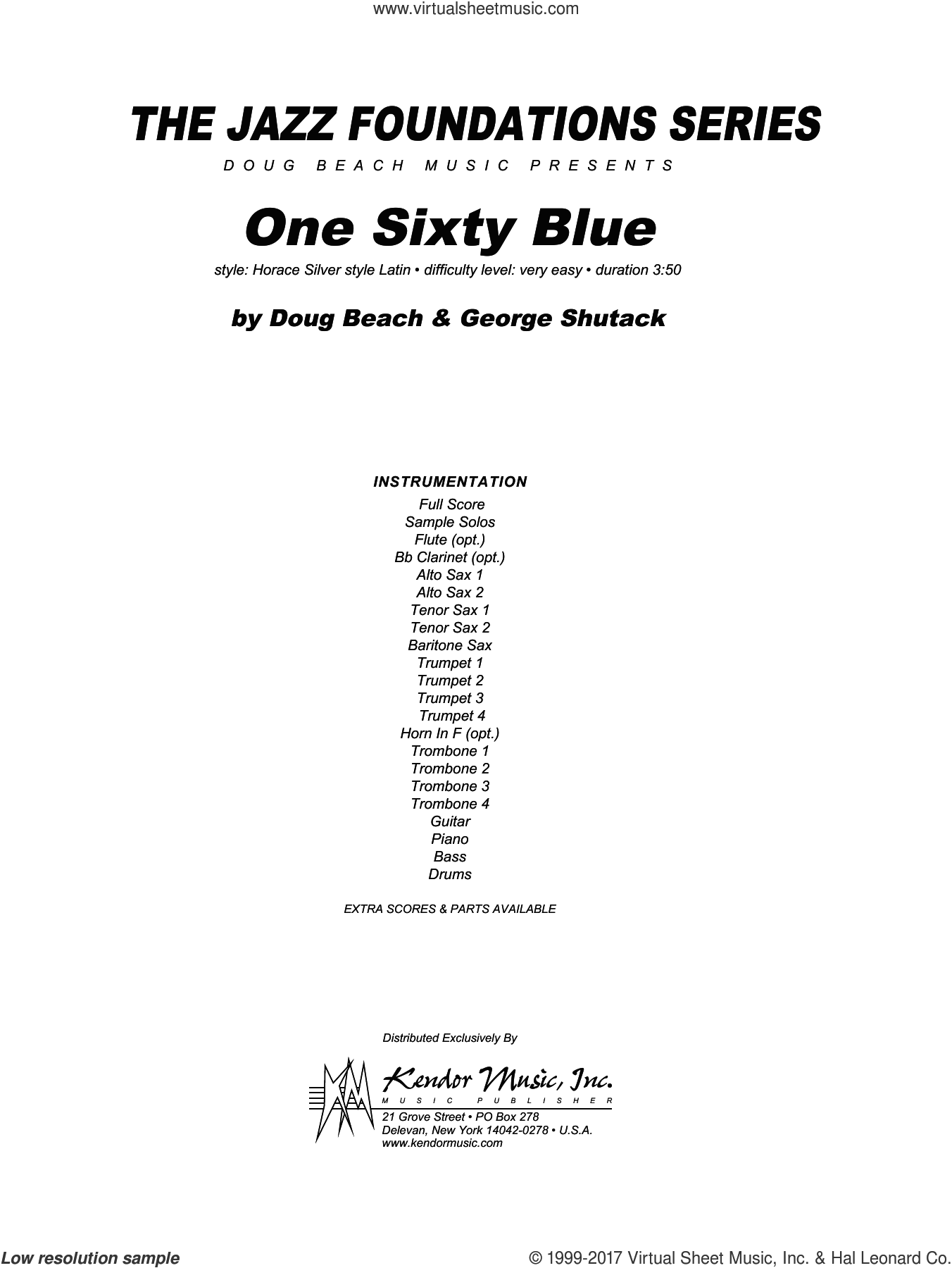 One Sixty Blue (COMPLETE) sheet music for jazz band by Doug Beach and George Shutack, intermediate skill level