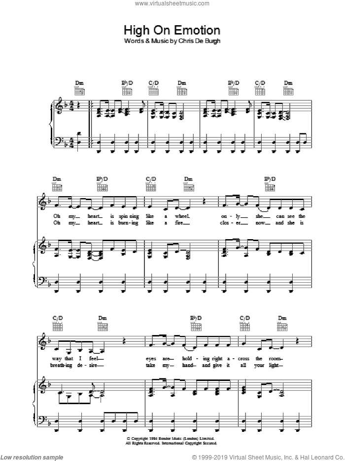 High On Emotion sheet music for voice, piano or guitar by Chris de Burgh, intermediate