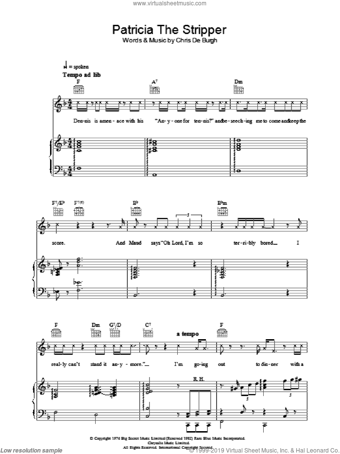 Patricia The Stripper sheet music for voice, piano or guitar by Chris de Burgh. Score Image Preview.