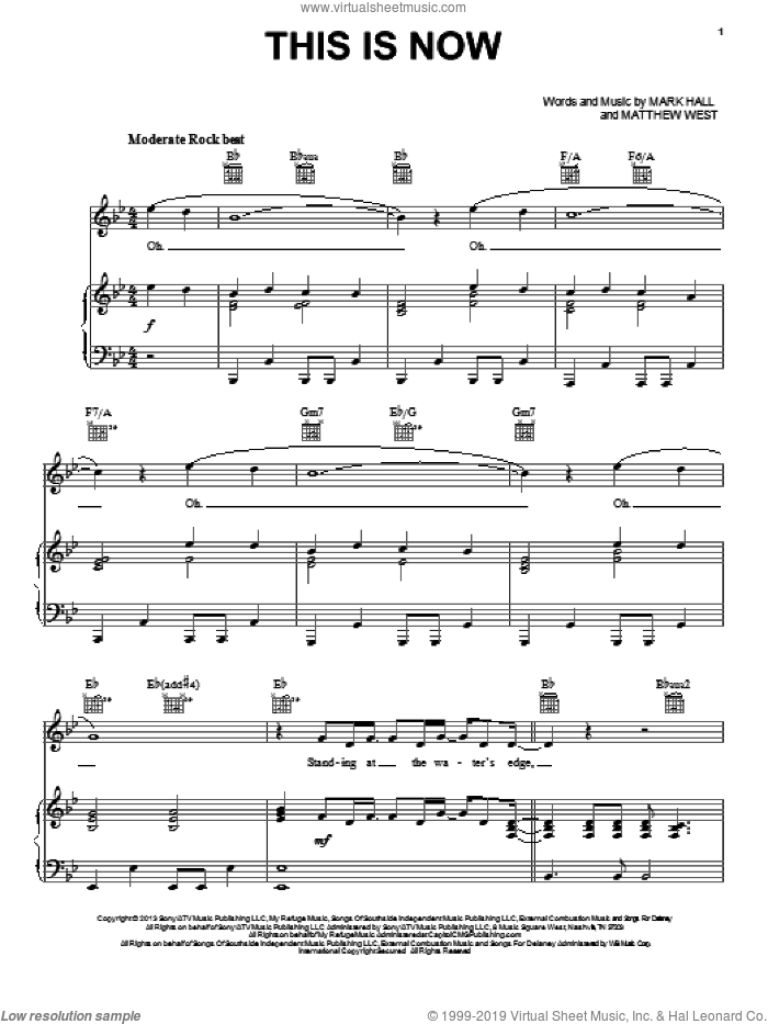 This Is Now sheet music for voice, piano or guitar by Casting Crowns, Mark Hall and Matthew West, intermediate. Score Image Preview.