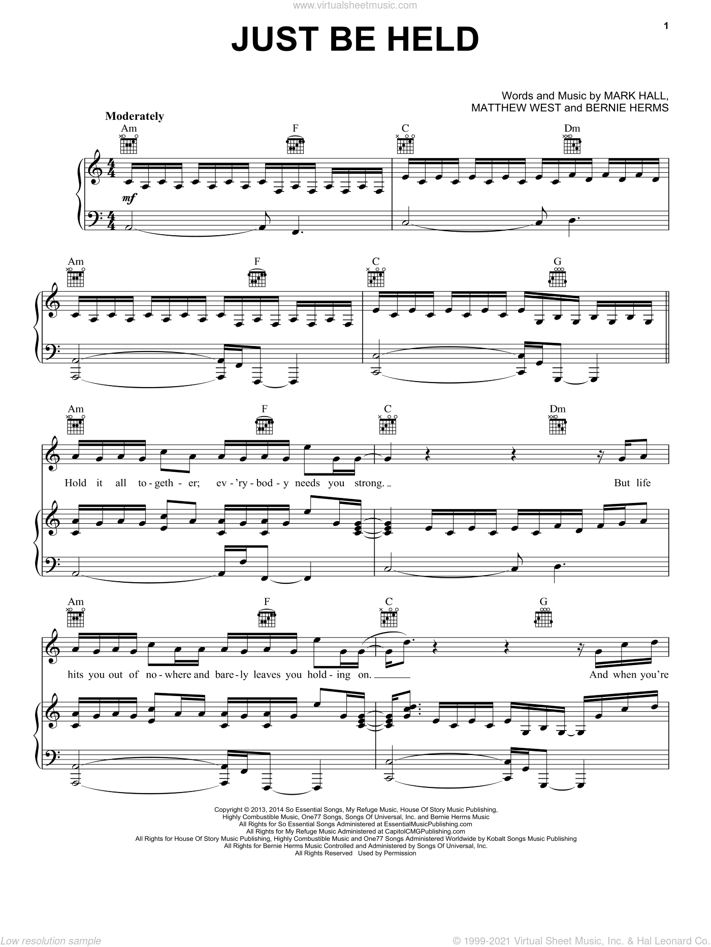 Just Be Held sheet music for voice, piano or guitar by Matthew West, Bernie Herms, Casting Crowns and Mark Hall. Score Image Preview.