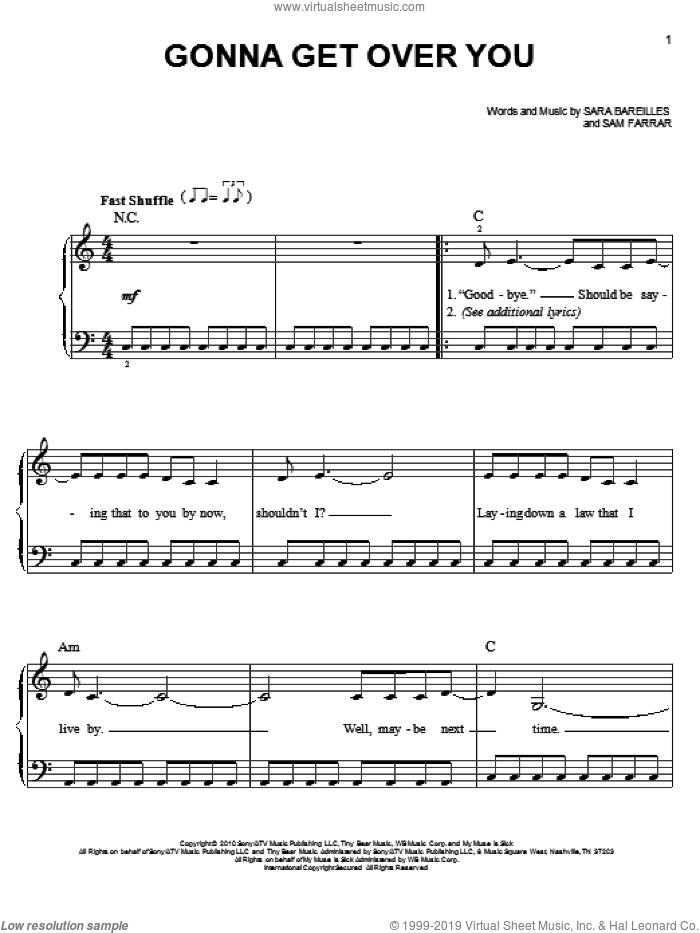 Gonna Get Over You sheet music for piano solo by Sam Farrar and Sara Bareilles. Score Image Preview.