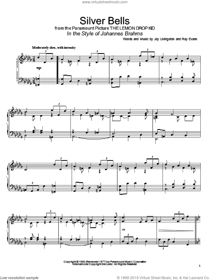 Silver Bells (in the style of Johannes Brahms) (arr. David Pearl) sheet music for piano solo by Jay Livingston, David Pearl and Ray Evans, intermediate skill level