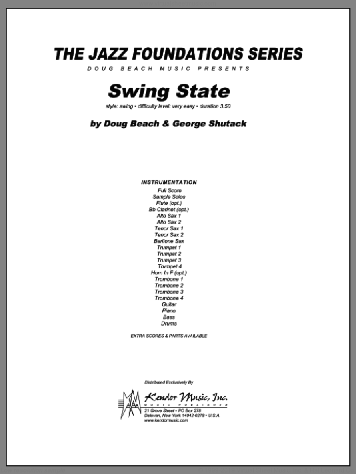 Swing State (COMPLETE) sheet music for jazz band by Doug Beach and George Shutack, intermediate skill level