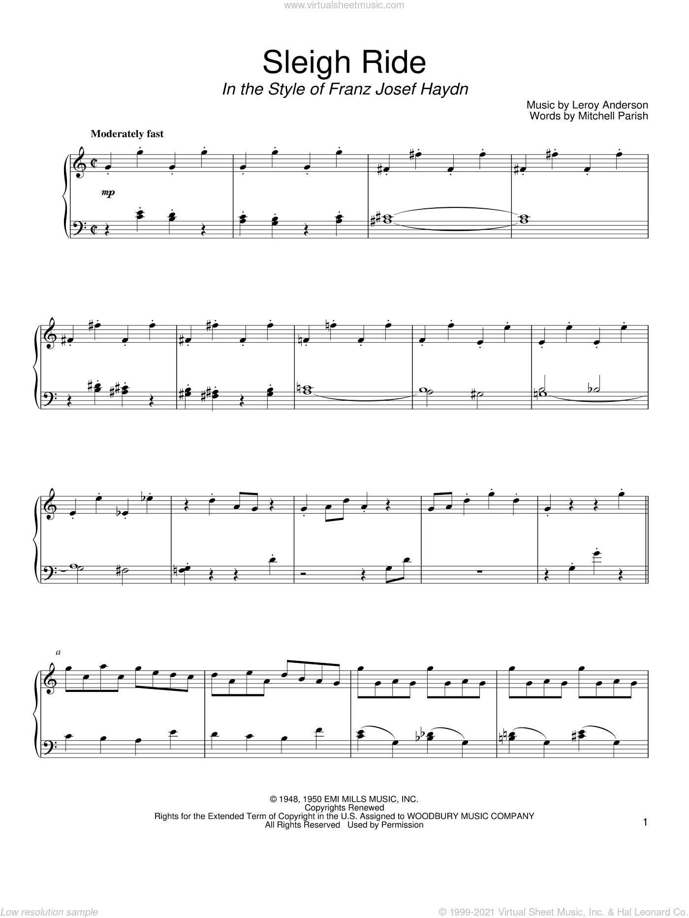 Sleigh Ride sheet music for piano solo by Leroy Anderson, David Pearl and Mitchell Parish, intermediate. Score Image Preview.