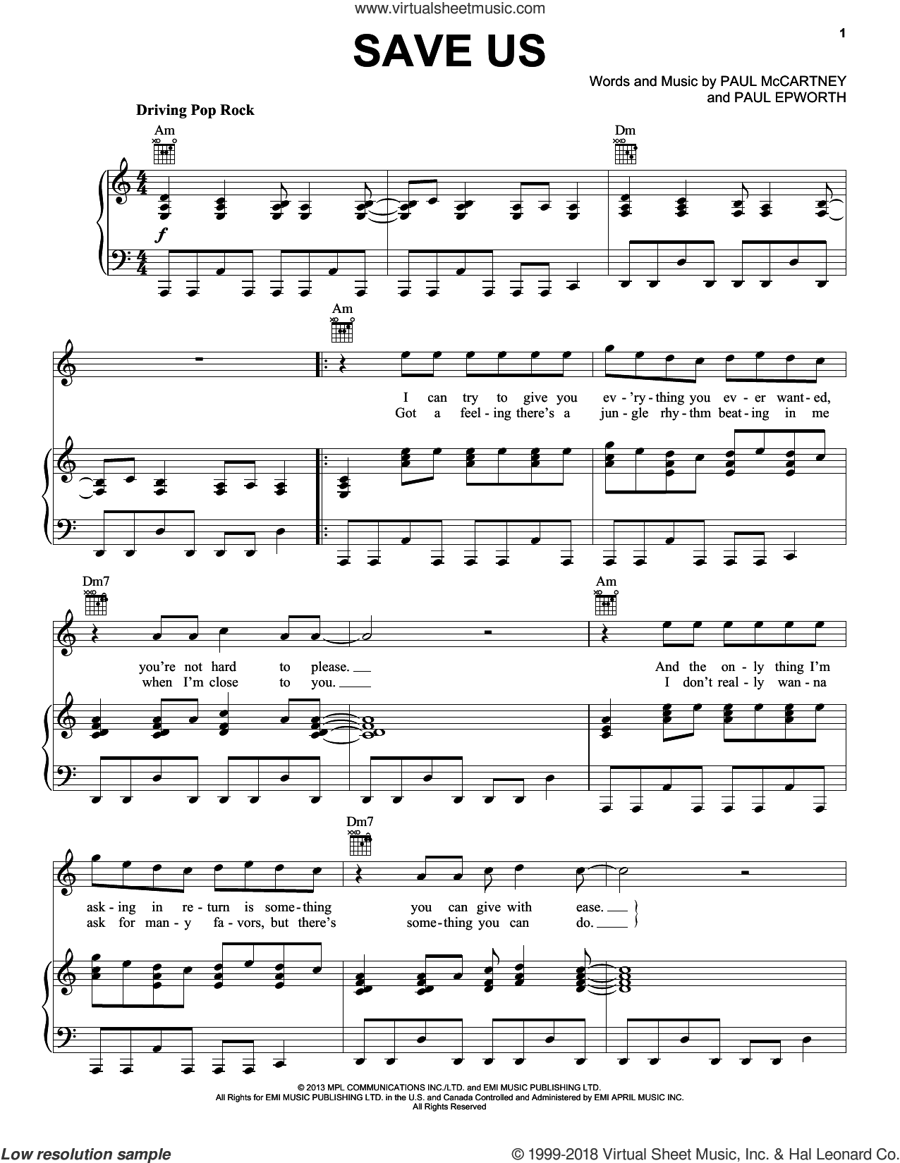 Save Us sheet music for voice, piano or guitar by Paul McCartney and Paul Epworth, intermediate skill level