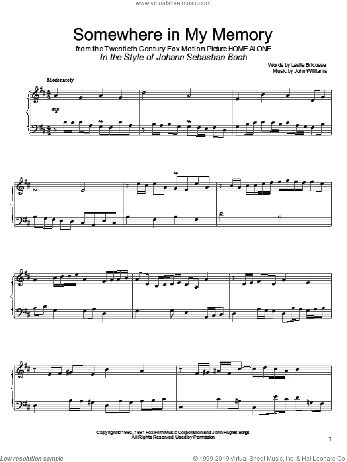 Somewhere In My Memory (arr. David Pearl) sheet music for piano solo by Bette Midler, David Pearl, John Williams and Leslie Bricusse, intermediate skill level