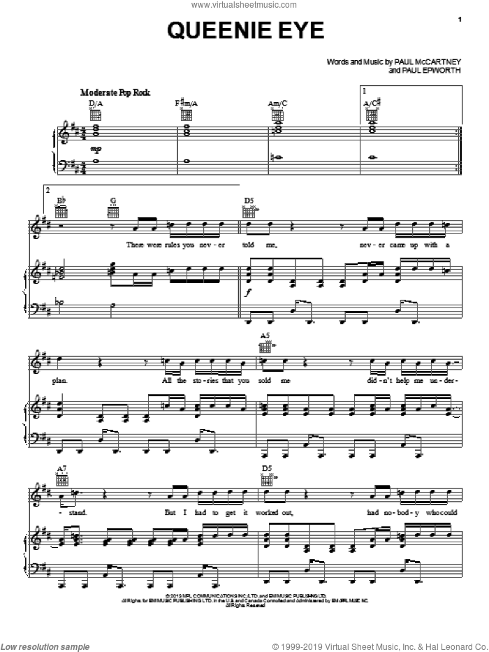 Queenie Eye sheet music for voice, piano or guitar by Paul McCartney and Paul Epworth, intermediate. Score Image Preview.