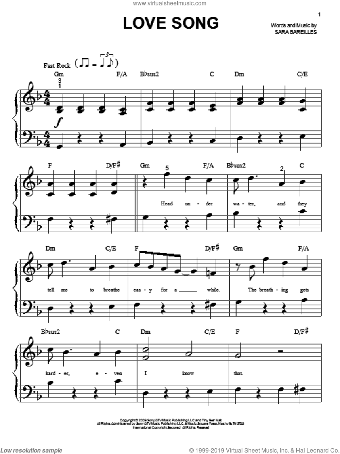 Bareilles - Love Song sheet music for piano solo (big note book)