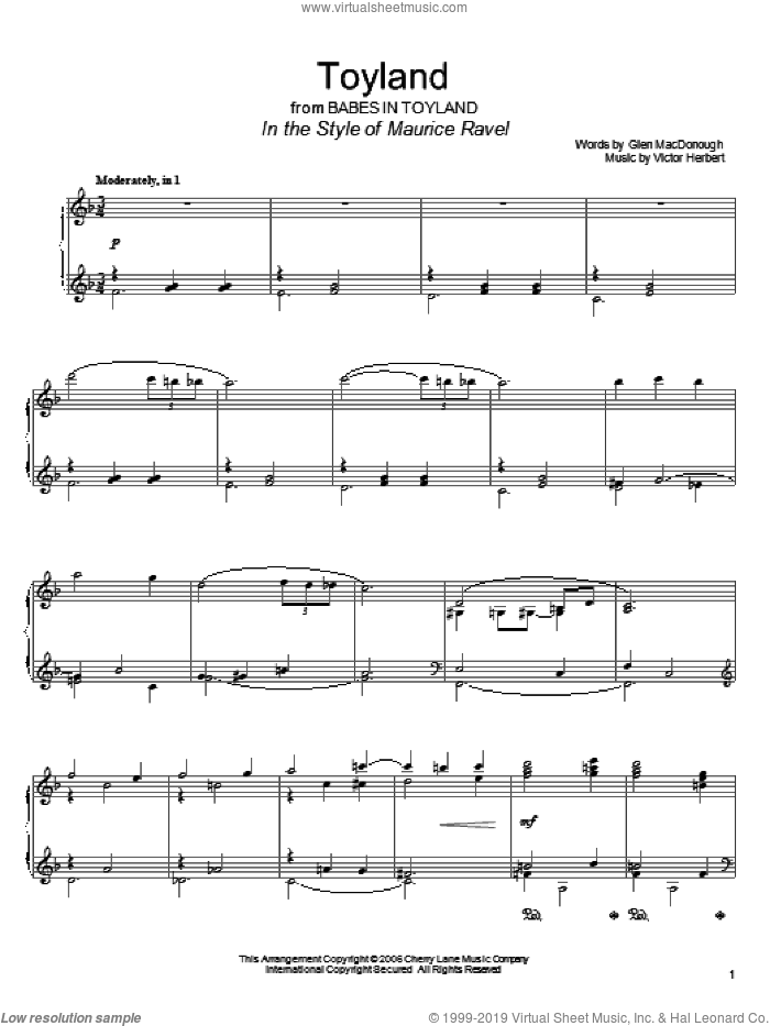 Toyland sheet music for piano solo by Victor Herbert, Doris Day and Glen MacDonough. Score Image Preview.