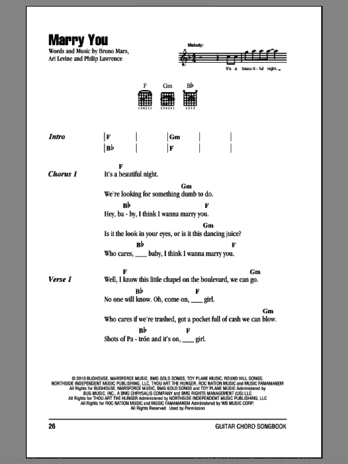 Marry You sheet music for guitar (chords) by Philip Lawrence