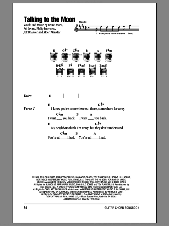 Talking To The Moon sheet music for guitar (chords) by Philip Lawrence, Ari Levine, Bruno Mars and Jeff Bhasker. Score Image Preview.