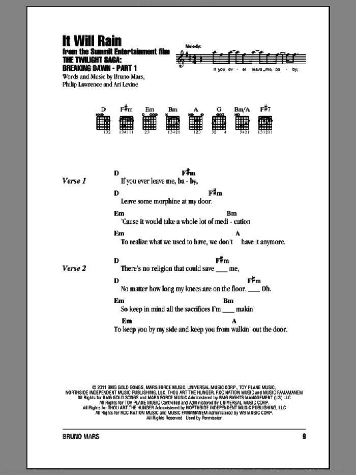 It Will Rain sheet music for guitar (chords) by Philip Lawrence, Ari Levine and Bruno Mars. Score Image Preview.